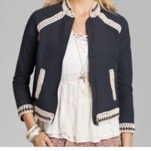 Free people crochet trim cropped jacket XS
